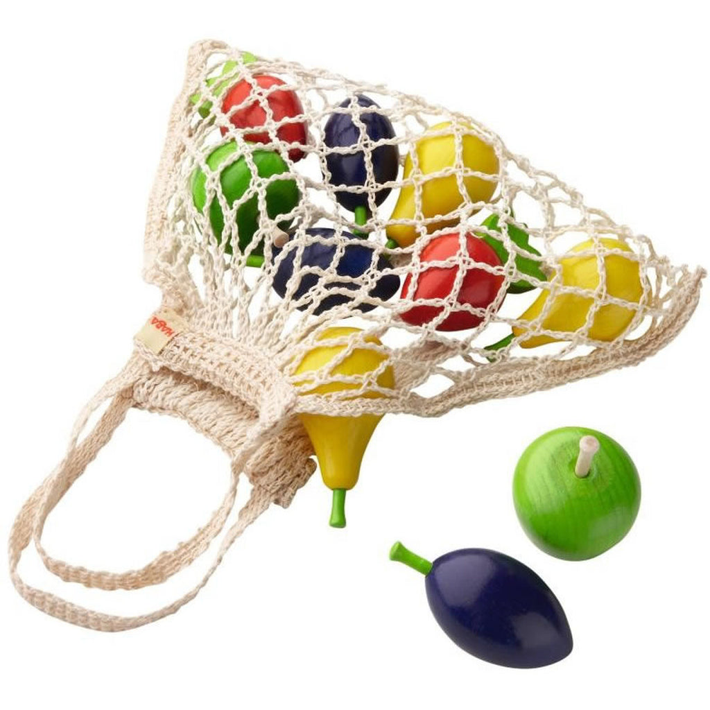 Wood Fruits in a Netted Bag