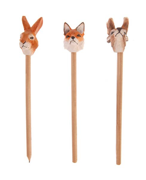 Carved Wooden Forest Animal Pencils