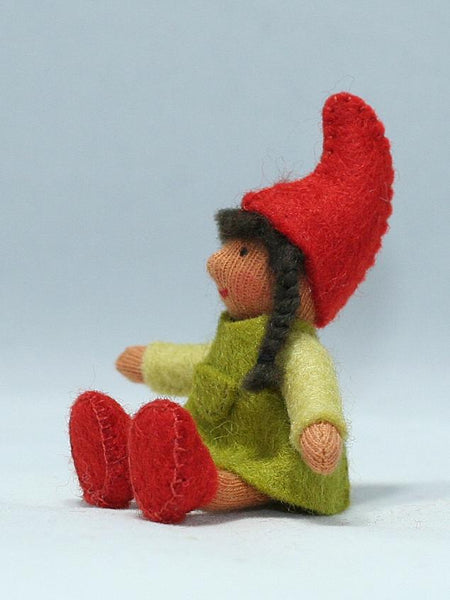 Garden Gnome Girl Felted Waldorf Doll