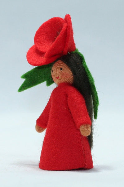 Red Poppy Fairy Felted Waldorf Doll - Three Skin Colors