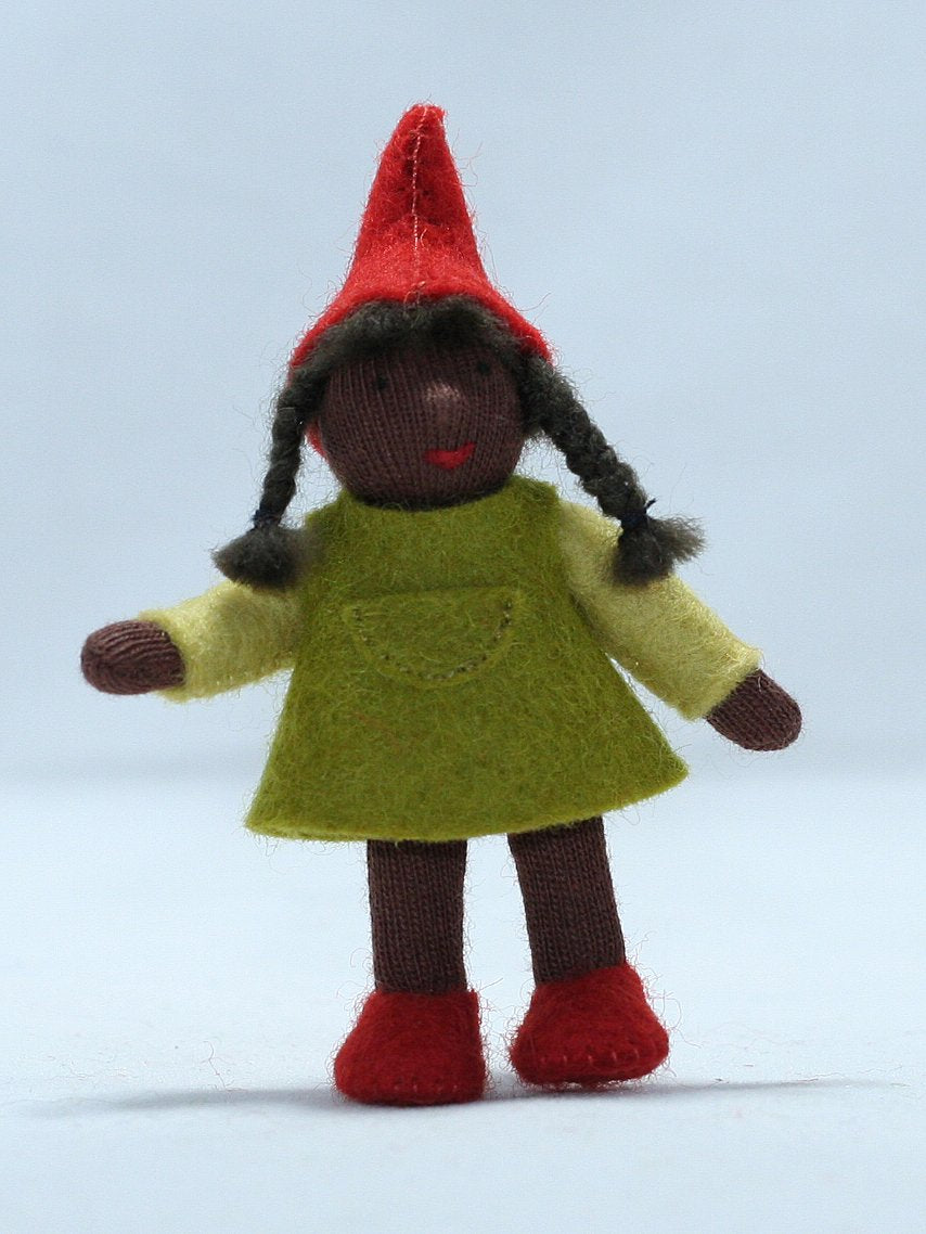 Forest Gnome Girl Felted Waldorf Doll