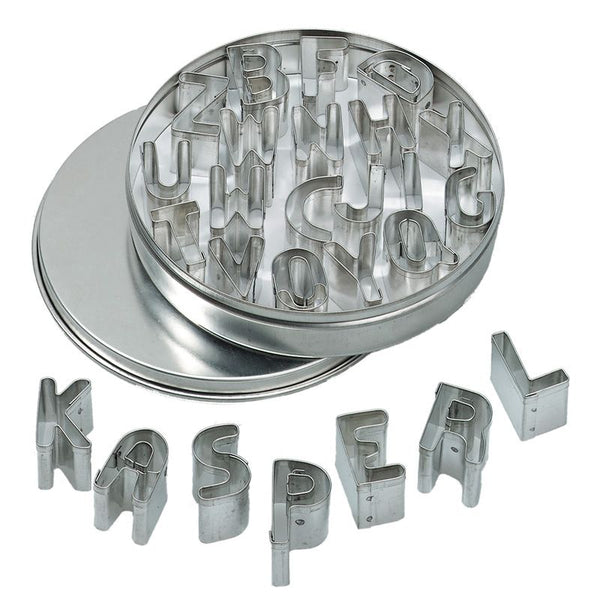 Alphabet Mini Cookie Cutter Set in Tin