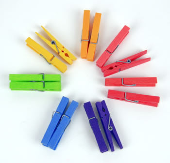 Rainbow Colored Clothes Pins