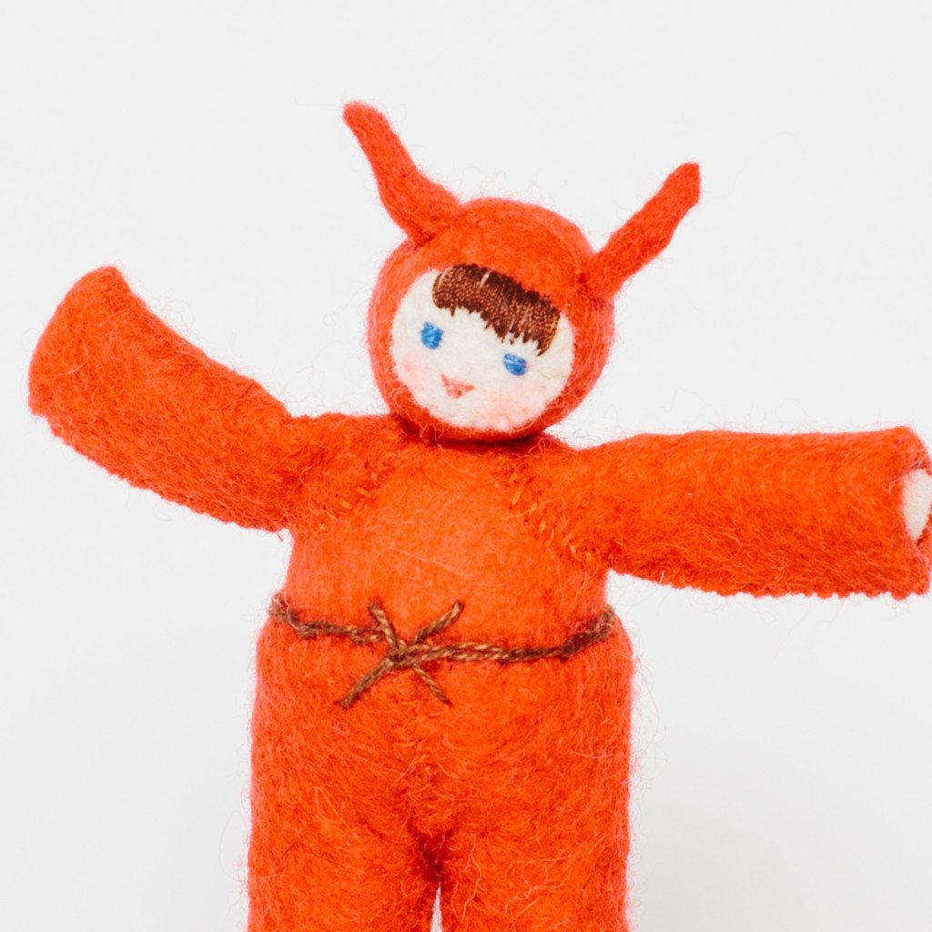 Jack o' Lantern Kid Felted Doll