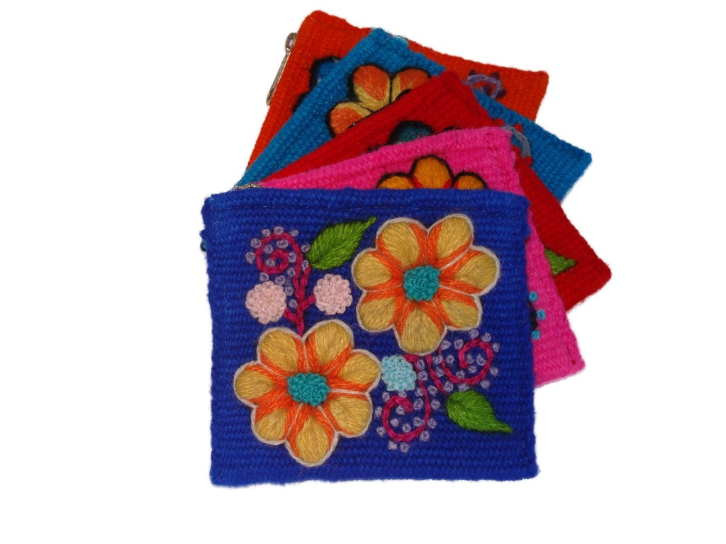 Woven Wool Embroidered Coin Purse