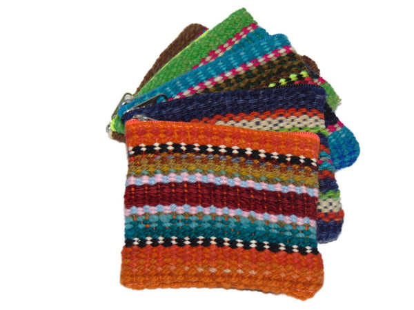 Woven Wool Striped Coin Purse
