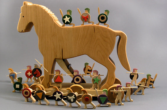 Wooden Trojan Horse and Figures