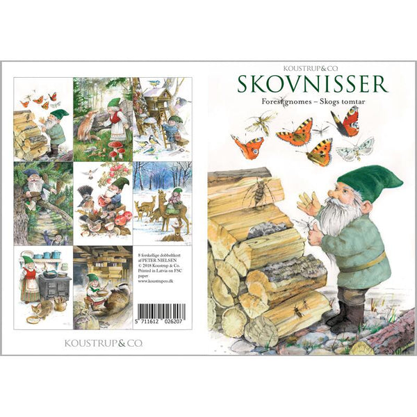 Forest Gnomes Stationary Folder with Set of 8 Note Cards
