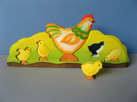 Hen and Chicks Wooden Waldorf Puzzle