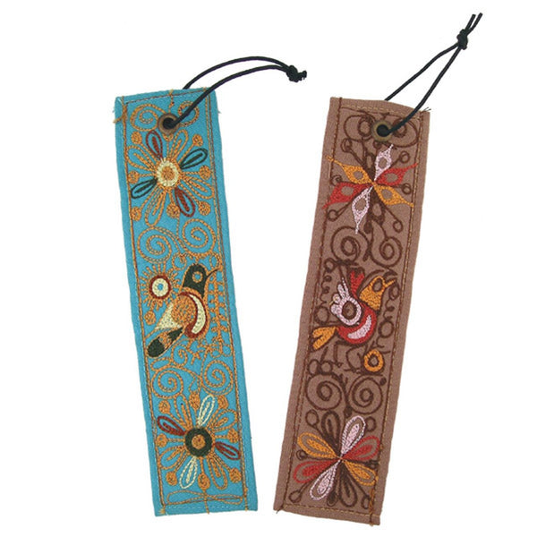 Embroidered Bookmark with Leather Backing