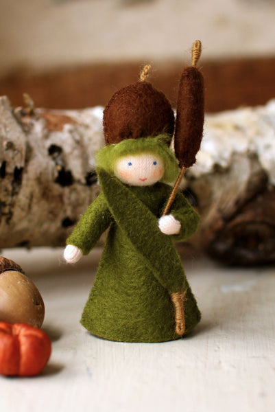 Cattail Fairy Felted Waldorf Doll