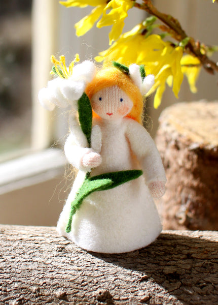Easter Lily Fairy Felted Waldorf Doll