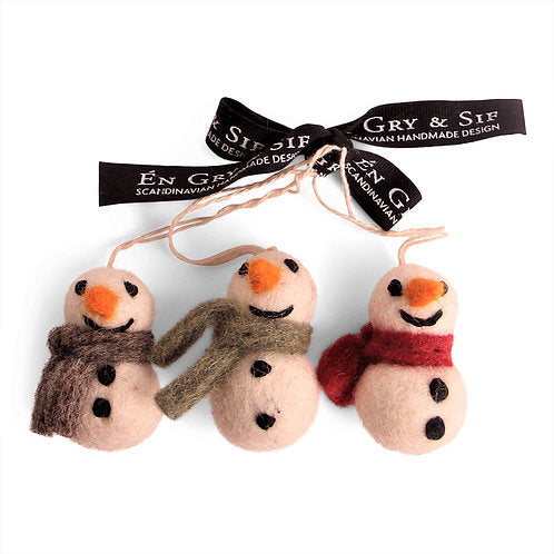 Chubby Snowman Felted Wool Ornaments - Set of 3