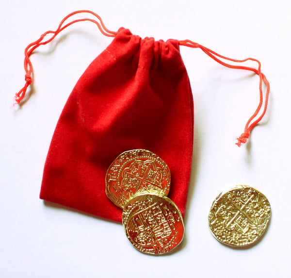 Velvet Pouch of Gold Coins - St. Nicholas Gift