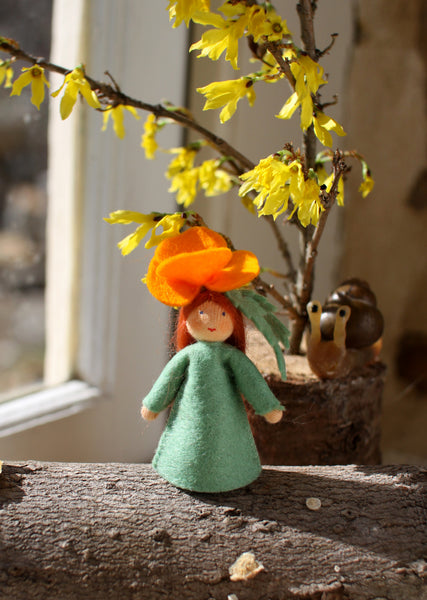 Golden Poppy Fairy Felted Waldorf Doll