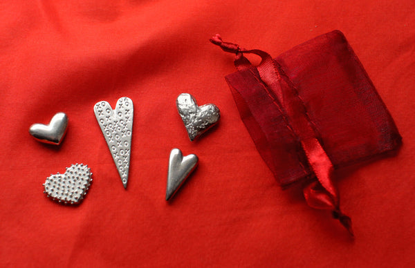 Hearts Pewter Pocket Charms Set