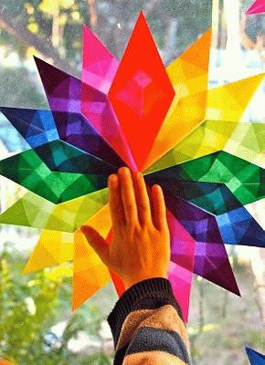 Christmas Colors Window Star Kite Paper