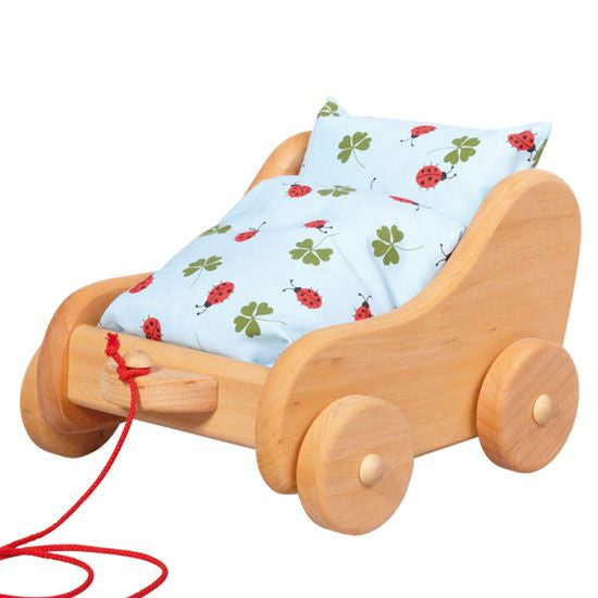 Wooden Pull-Along Doll Stroller