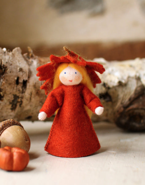 Maple Leaf Fairy Felted Waldorf Doll