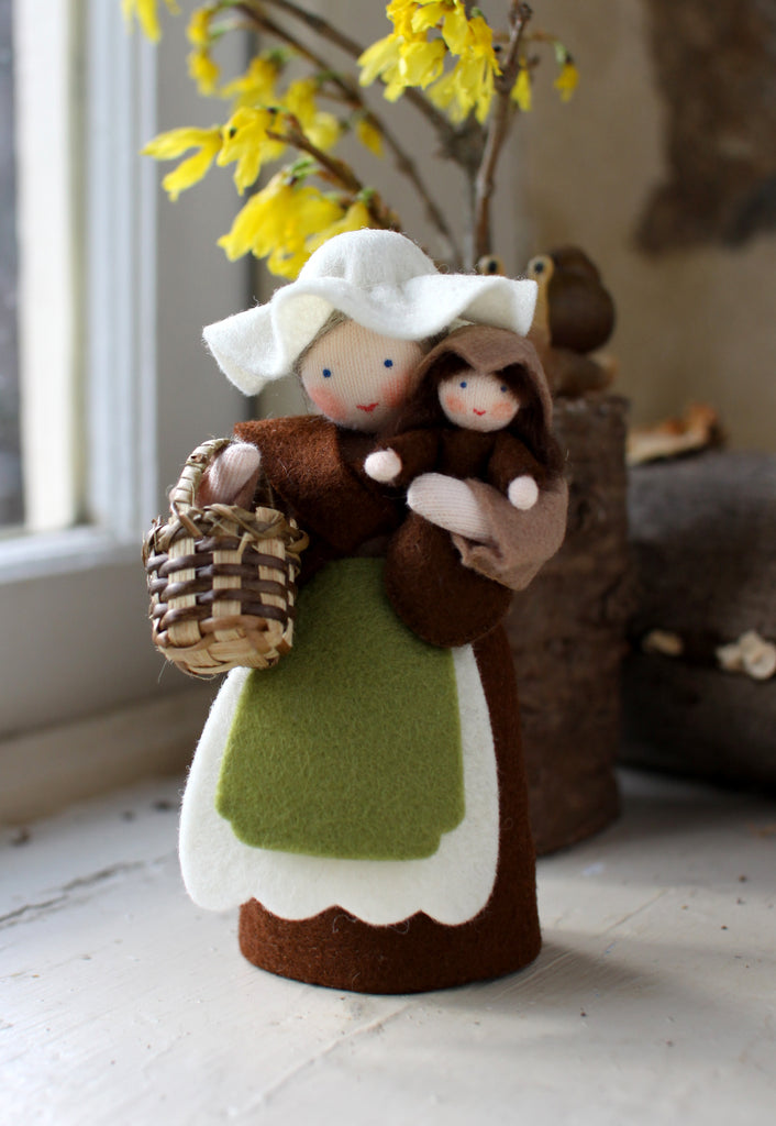 Mother Earth with Baby Seed Felted Waldorf Doll
