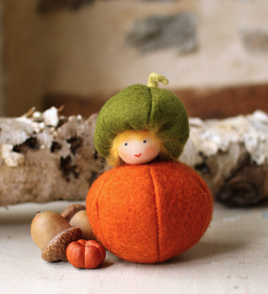 Little Pumpkin Fairy Felted Waldorf Doll