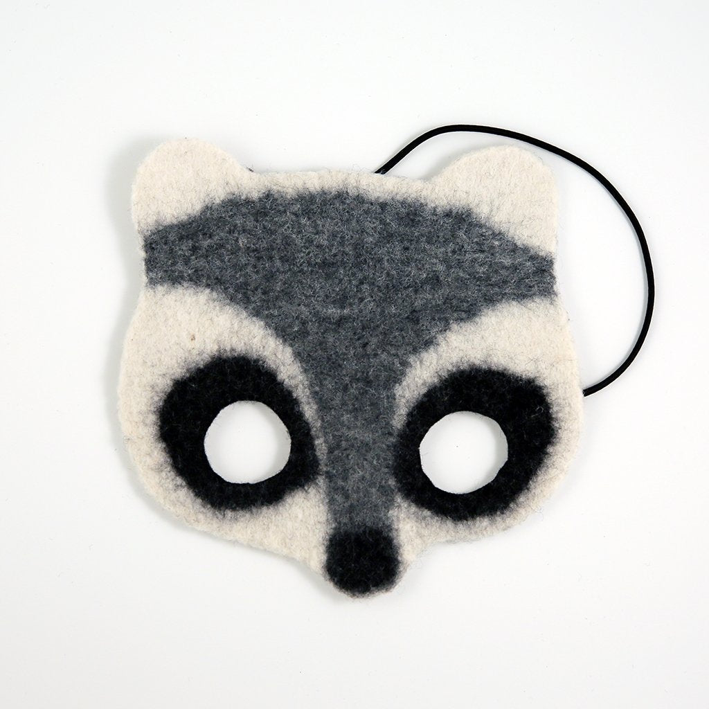 Night of Mischief Raccoon Handfelted Mask