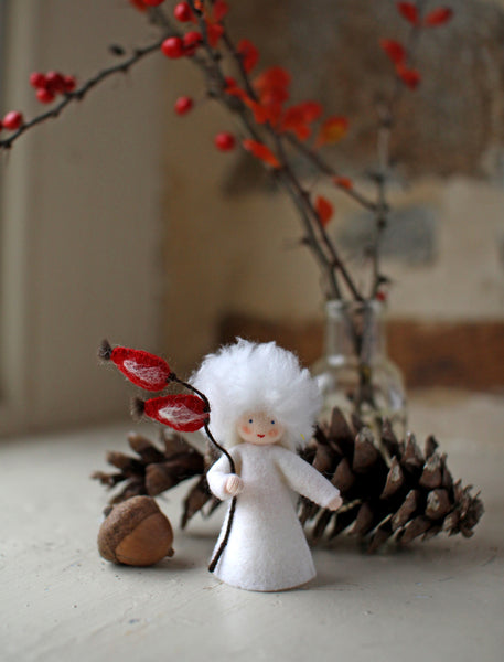 Rose Hips Fairy Felted Waldorf Doll