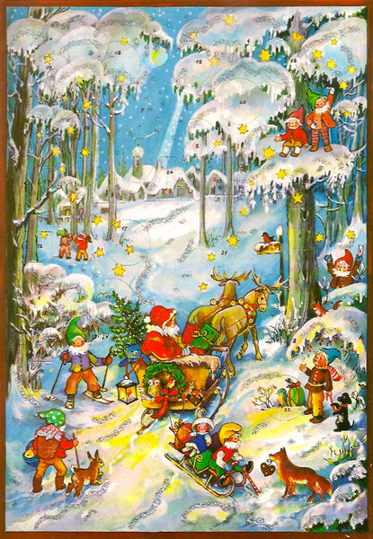 Santa in the Snowy Woods Advent Calendar