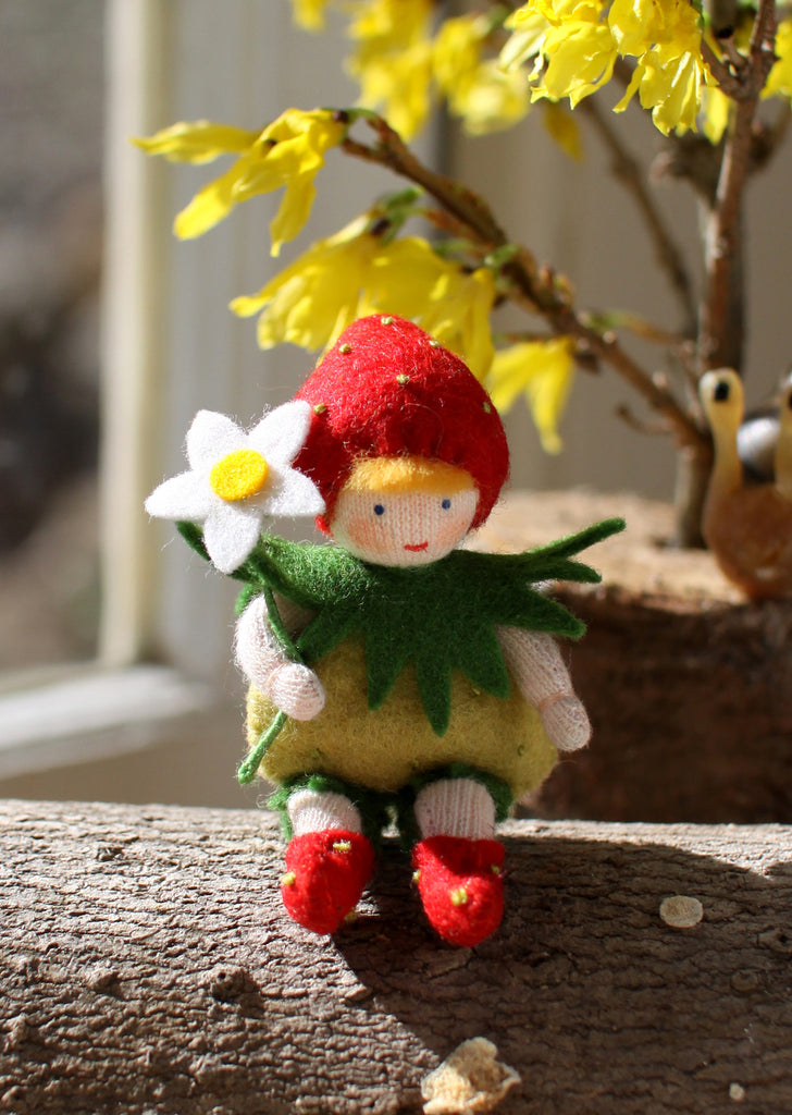 Strawberry Baby Felted Waldorf Doll