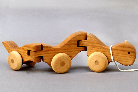 Wooden Wiggle Worm Pull Toy