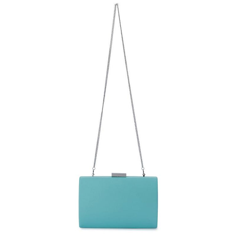 Adley Oversized Pod handbag clutch light blue chain handle view