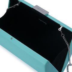 Adley Oversized Pod handbag clutch light blue open view