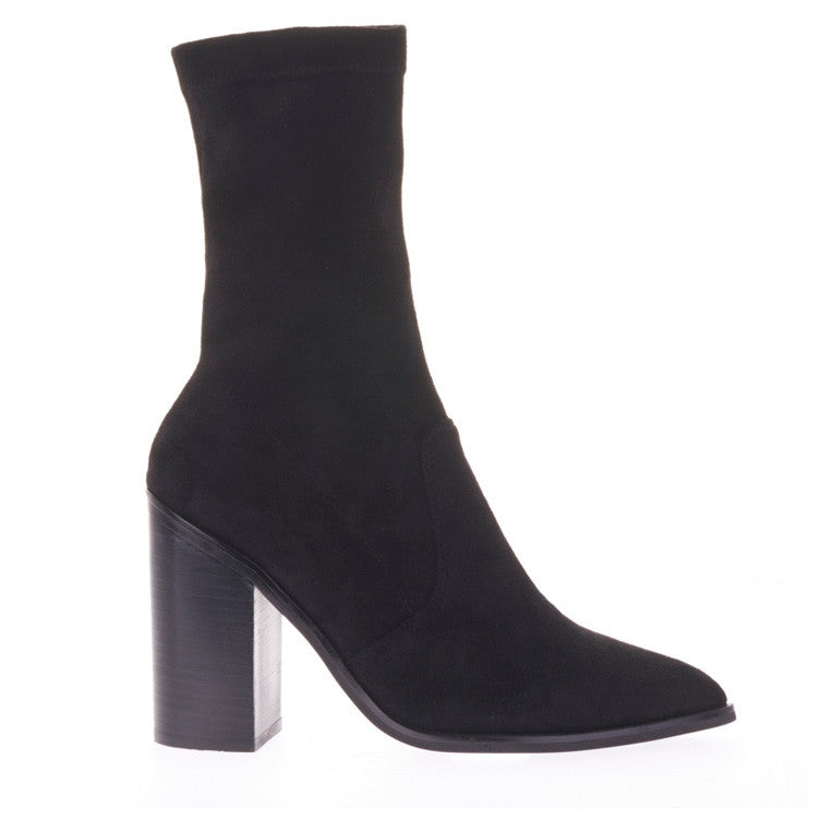pointed toe and a fitted sock style boots Black side view