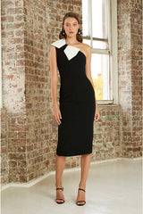 By Johnny Asymmetric Belle Bow Midi Dress Black/White