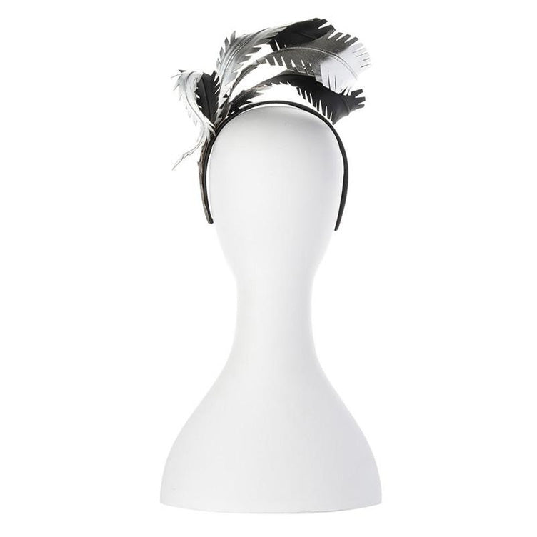 Brooke Metallic Feathers Fascinator black headband back view