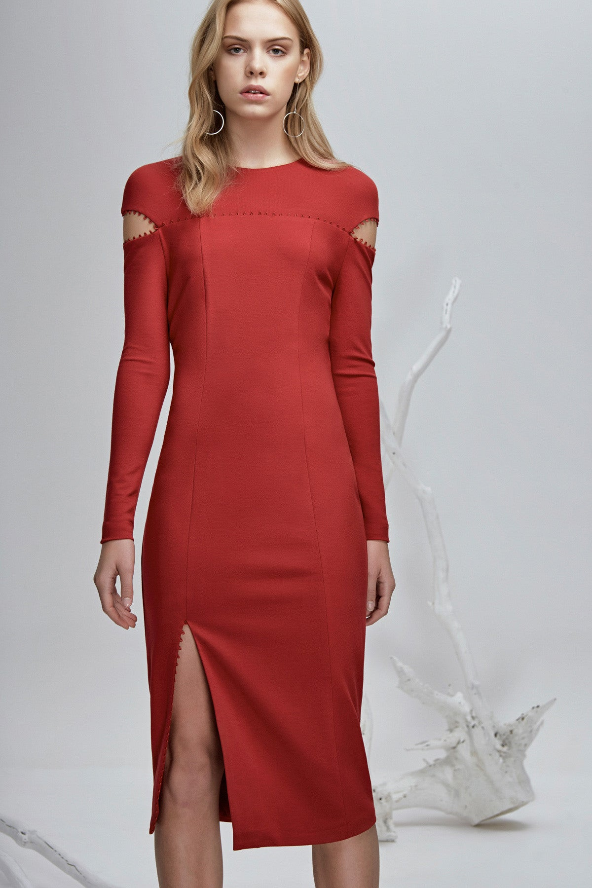 long sleeve midi dress with a high rounded neckline Red Front View