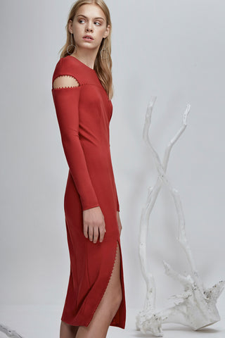 long sleeve midi dress with a high rounded neckline red Side View