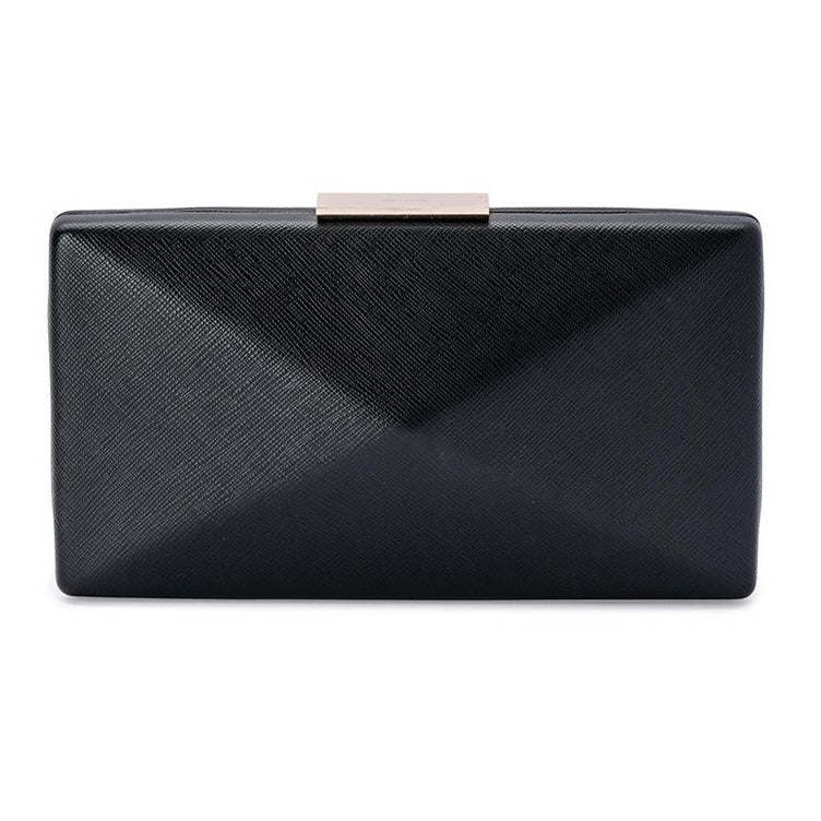 Kimbra Simple Angular Pod Clutch Handbag Black