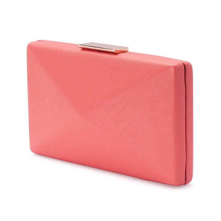 Kimbra Simple Angular Pod Clutch Handbag Pink