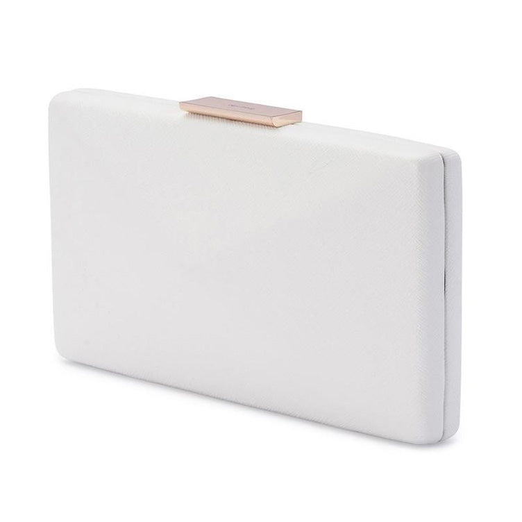 Kimbra Simple Angular Pod Clutch Handbag White