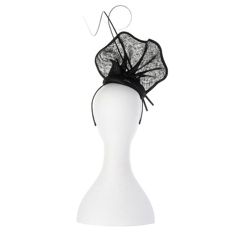 Lauren Sinamay Fascinator Black back View