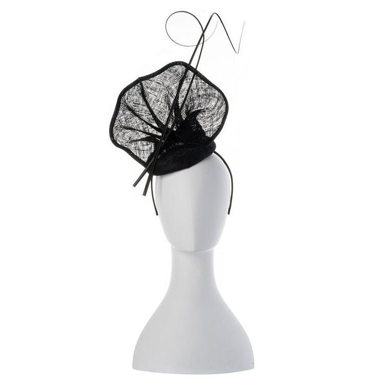 Lauren Sinamay Fascinator Black Front View