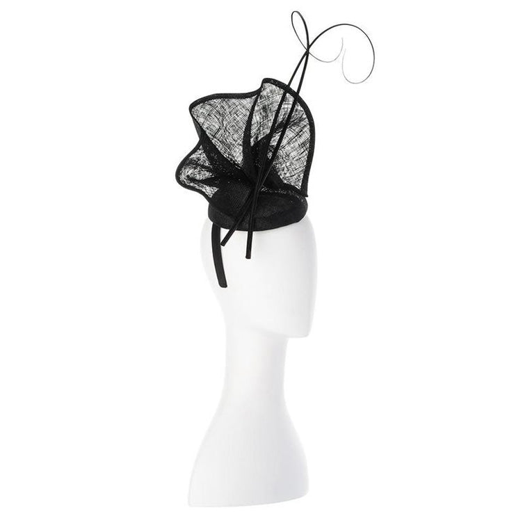 Lauren Sinamay Fascinator Black Side View