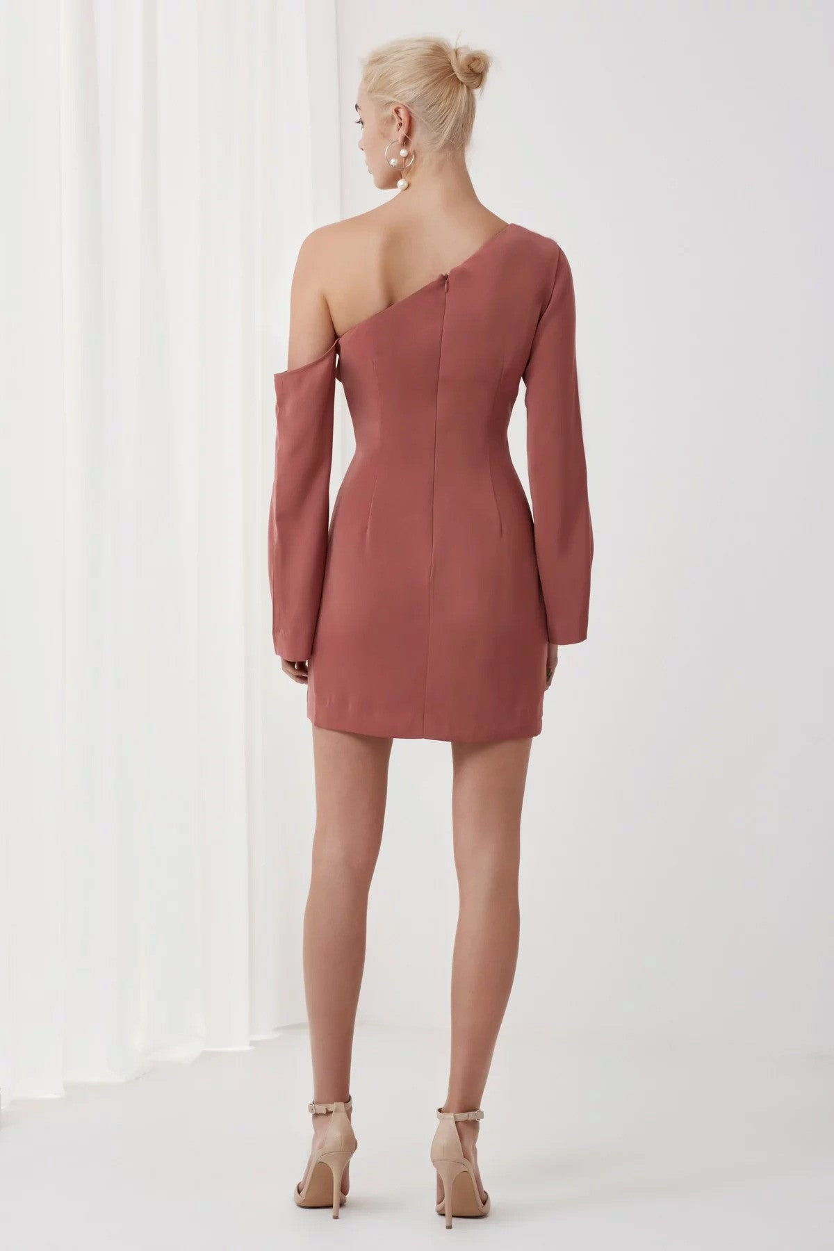 Overpowered Long Sleeve Dress Pink Back
