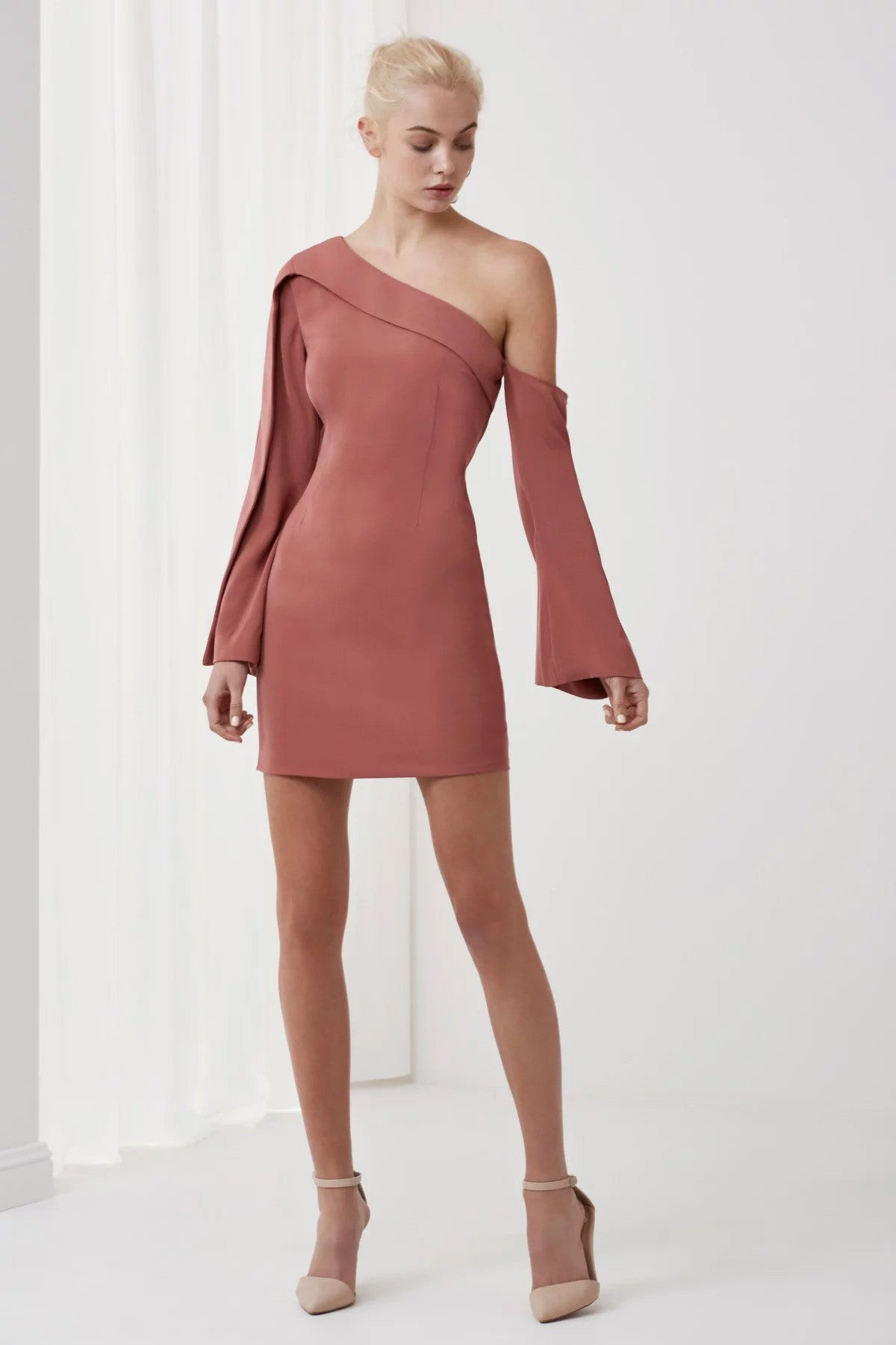 Overpowered Long Sleeve Dress Pink Front