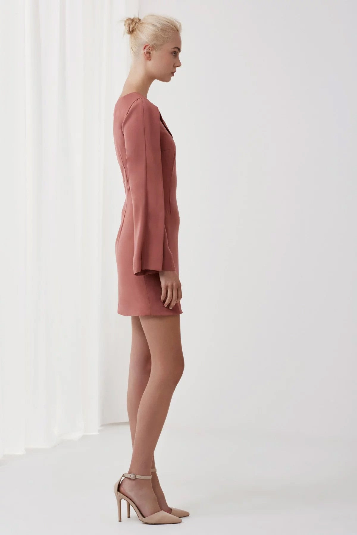 Overpowered Long Sleeve Dress Pink Side