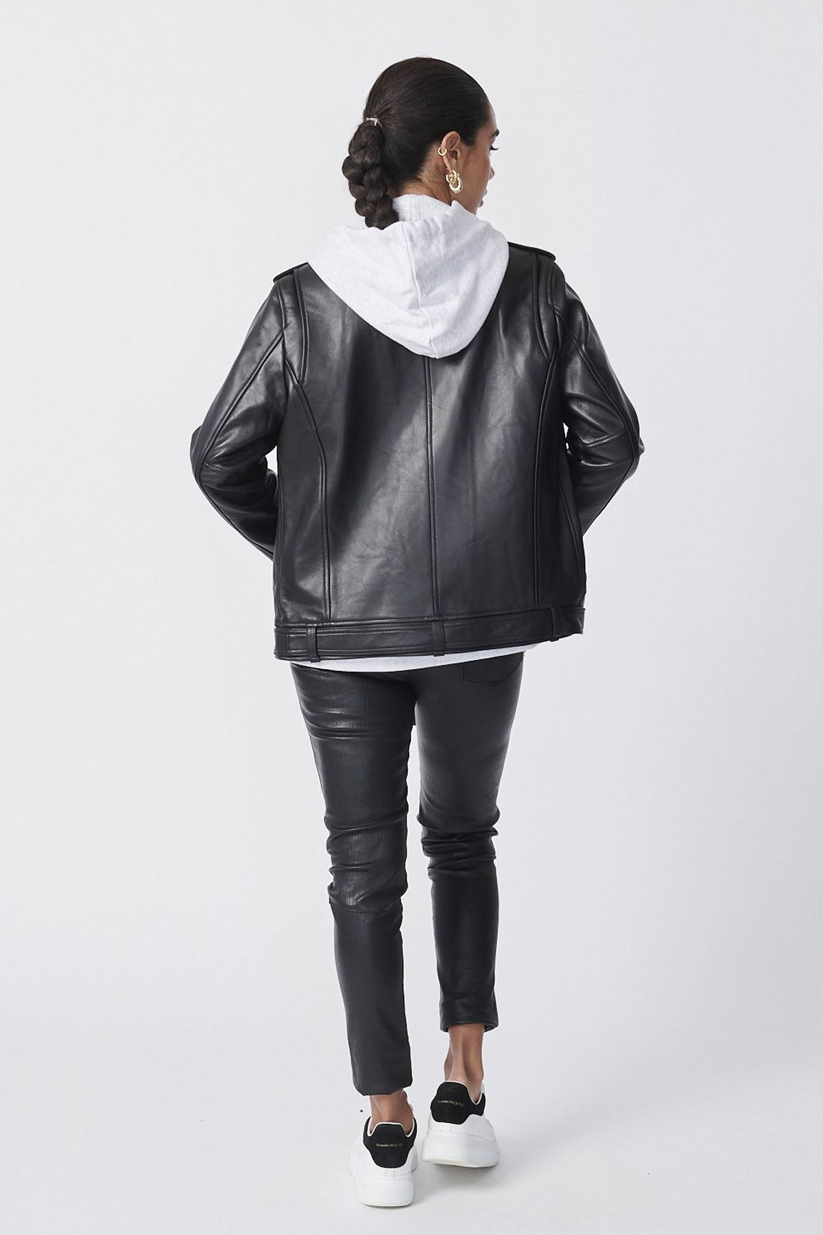 Ena Pelly Oversized New Yorker Biker Jacket Black/White