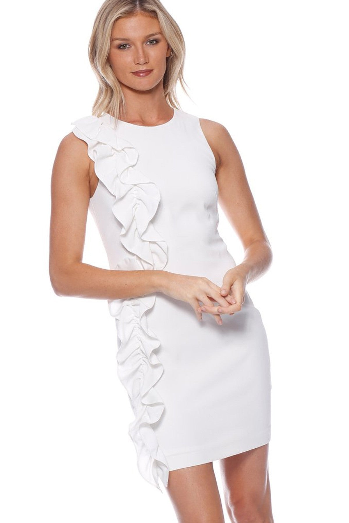 Portrait Ruffle Dress White Front