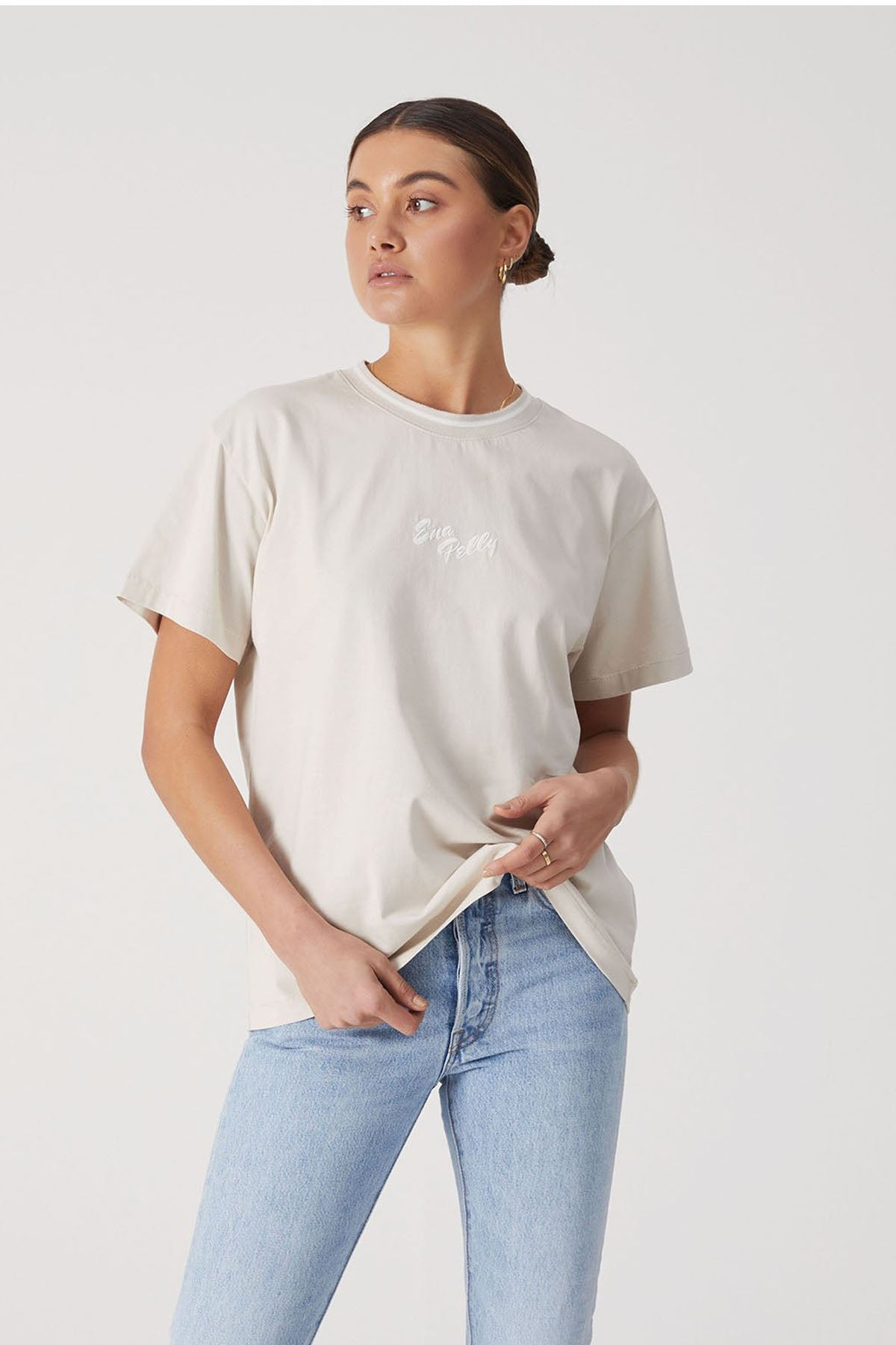 Ena Pelly Script Embroidered Tee Sand