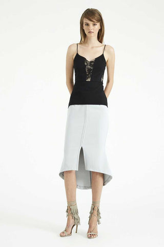 Stay A Little Midi Skirt Silver Grey Front